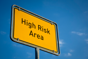 """Sign """"High risk area"""""""
